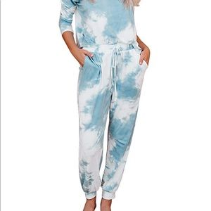Other - Tie Dye Pajama Loungewear set. Blue & white Small